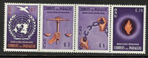 Paraguay 1960 Scott# 568A MNH Strip of 4 Purple & Orange (folded in half)
