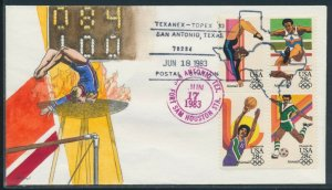 #C101-C104 BLOCK OF 4 OLYMPICS 1984 ON FDC CACHET BY HAM HANDPAINTED BV1384