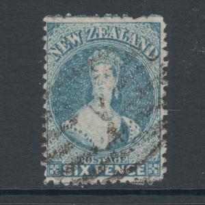 New Zealand Sc 41a, SG 136, used 1873 6p pale blue QV, light cancel, sound, Cert