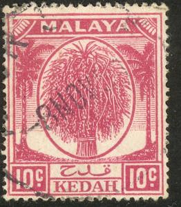MALAYA KEDAH 1950-55 10c SHEAF OF RICE Issue Scott 69 VFU