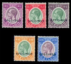 CEYLON 1927  KGV chalk surface paper set - SPECIMEN - perf. SG 363s-67s mint MLH