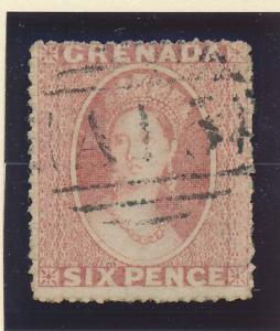 Grenada Stamp Scott #2, Used, Two Margins, Six Pence 1861 - Free U.S. Shippin...