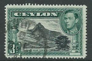 Ceylon George VI  SG 387c perf 14 Fine Used