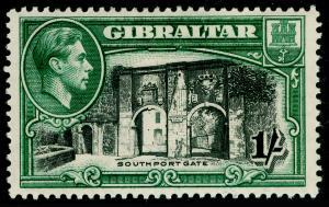GIBRALTAR SG127a, 1s black & green PERF 13½, LH MINT. Cat £75.