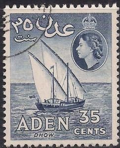 Aden 1953 - 63 QE2 35ct Deep Ultramarine Dhow used SG 56 ( G1137 )