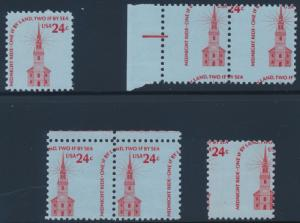 #1603 VAR. OLD NORTH CHURCH (5) DIFF MISPERF ERRORS C.O.D. BT5483