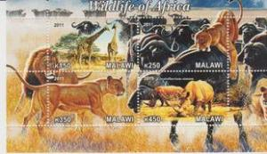 Malawi 2011 M/S Wildlife of Africa Leo Mammal Animal Rhinocero Giraff Stamps MNH