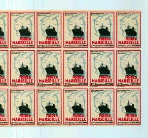 France Foire De Marseille Ship Block of 30 Poster Labels MNH(NT 3583