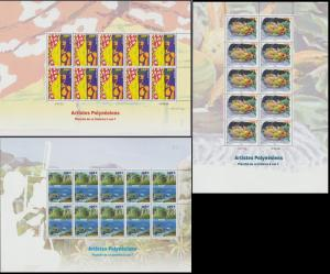 Fr. Polynesia Polynesian Artists 3 Full Sheets SG#1077-1079 MI#1031-1033 CV£...
