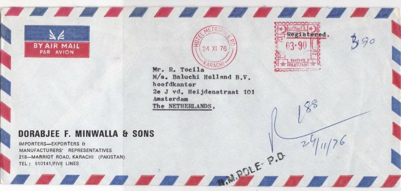 Pakistan 1976 Hotel Metropole Karachi Cancel A/Mail Meter Mail Stamps Cover29328