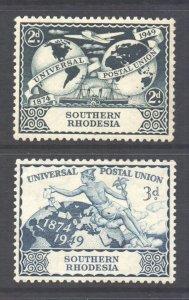 Southern Rhodesia Scott 71/72 - SG68/69, 1949 UPU Set MH*