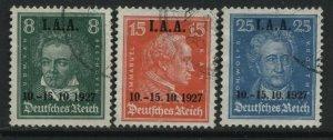 Germany 1927 definitives overprinted IAA used set