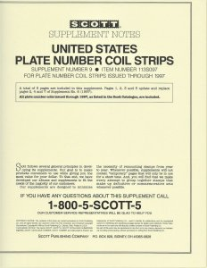 Scott U.S. Plate Number Coil Strips # 9 &10 Supplements