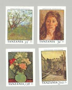 Tanzania #774-75, #777-78 Van Gogh Art 4v Imperf Proofs Denominations in Pen