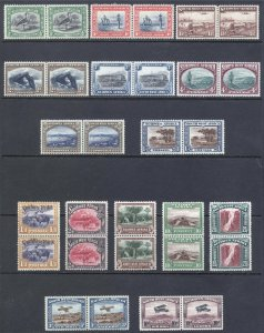 South West Africa 1931 1/2d-20s PAIRS SG 74-87 Sc 108-C6 LMM/MLH Cat £225($295)