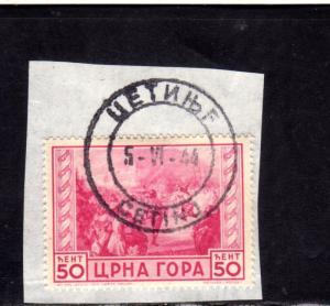 MONTENEGRO 1943 SERTO DELLA MONTAGNA CENT. 50c USATO SU FRAMMENTO USED OBLITERE'