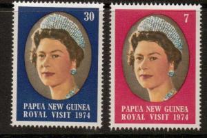 PAPUA NEW GUINEA SG268/9 1974 ROYAL VISIT MNH
