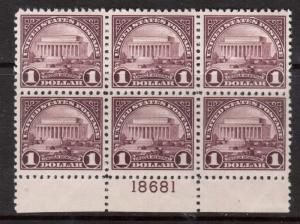 USA #571 VF/NH Plate Block Of Six