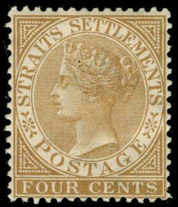 MALAYSIA - Staits Settlements SG64, 4c pale brown, M MINT. Cat £55. WMK CA.