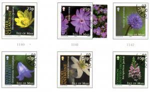 Isle of Man  Sc 1033-38 2004 Wild Flowers stamp set used