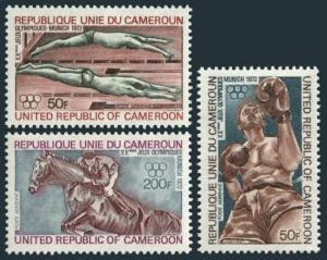 Cameroun C187-C189,hinged.Michel 700-702. Olympics Munich-1972:Swimming,Boxing,