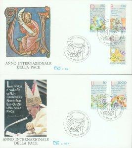 VATICAN POPE JOHN PAUL II INTERNATIONAL YEAR OF PEACE 1986 2 FDCs R202094