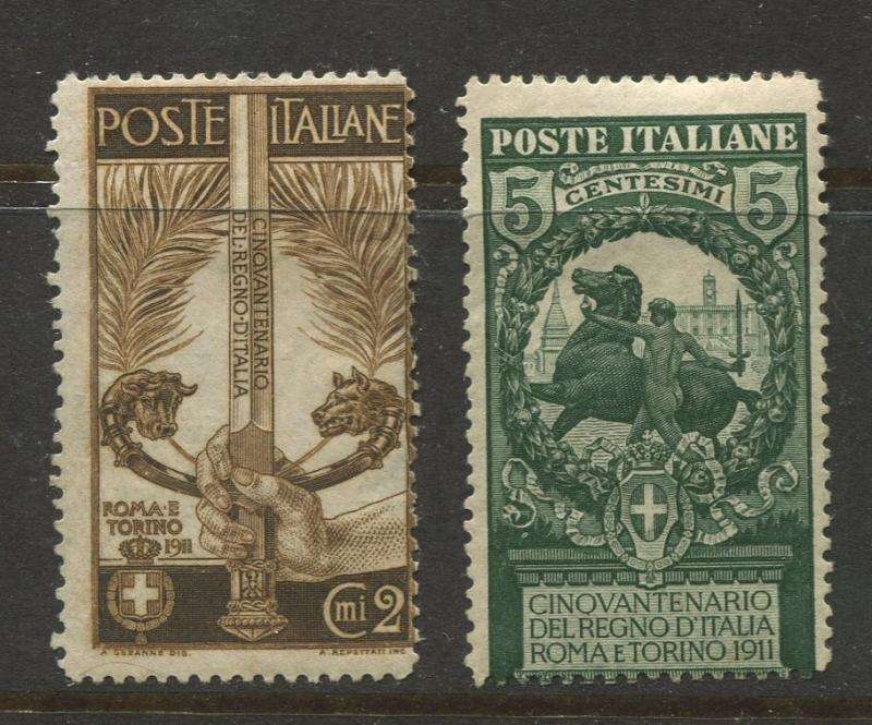 Italy - Scott 119-120 - General Issue -1911 -MH - Single 2c & 5c Stamps