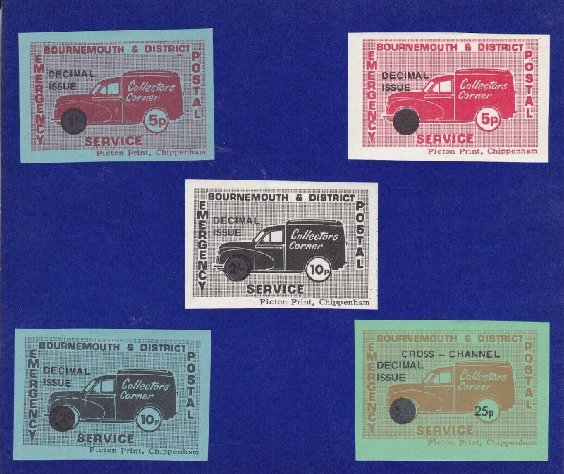 GB284) 1971 Postal Strike, Bournemouth & District, Set of 5. Dual currency.