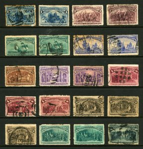 #230 - #238, #240 1893 Columbian Exposition Issue Asst Singles with Shades Used