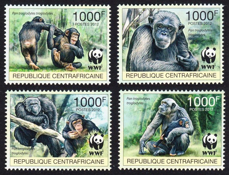 Central African Rep. WWF Central Chimpanzee set of 4v
