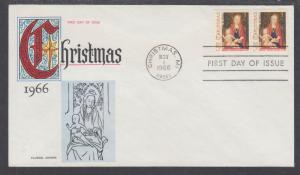 US Mel 1321-22 FDC. 1966 5c Christmas pair, Fluegel Color Cachet, VF