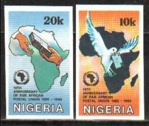 1990 Nigeria 545-56 imperf. / Post pigeon rare