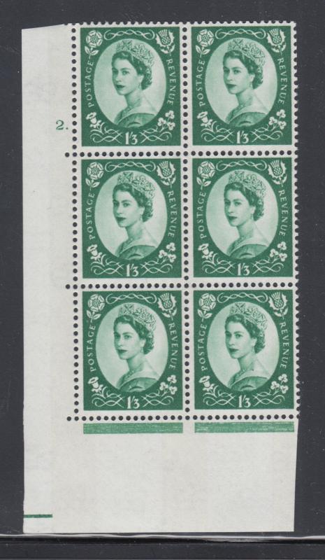 Great Britain SG 618 MNH. 1965 1sh 3p Wilding Cylinder block 2., scarce