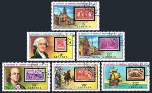 Liberia 703-708,CTO.Michel 953-958. USA-200,1976.Liberty Bell,Valley Forge,