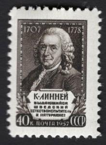 Russia/USSR 1957,Carl Linnaeus,Swedish Botanist,Sc # 1955,VF MNH** (KV-2)