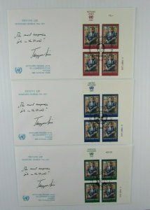 1987 UN 3 signed Trygve Lie FDC's Secretary General  CDS corner blocks