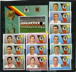 AJMAN 1969 SOCCER/FAMOUS GERMAN PLAYERS 2 SETS OF 12 STAMPS PER.& IMP. & S/S MNH