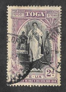 TONGA #71 Used 2d Accession of Queen Salote  2015 SCV = $3.00