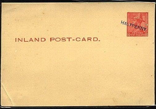 NEW ZEALAND GV 1d postcard handstamped HALFPENNY.........................19458