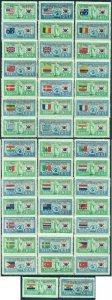 South KOREA 1951 Korean War FLAGS complete set w/both ITALYs Sc# 132-173 MLH