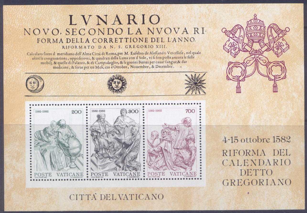 Calendario Lunare 1988.Vatican 717a Mnh Art 400th Anniv Of Gregorian Calendar