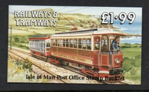 Isle of Man Sc 355b, 355c b panes in complete £1.99 train stamp booklet mint NH