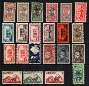 Martinique  22  different  mint hinged and used