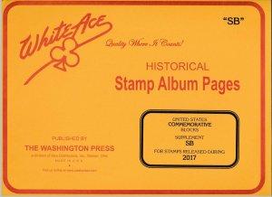 WHITE ACE 2017 US Commemorative Blocks Stamp Album Supplement SB