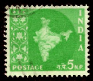 India 5np Map of India 1958 SG.402, Sc.305 Used (#01)