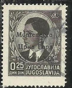 MONTENEGRO 1941 SOPRASTAMPATO DI JUGOSLAVIA YUGOSLAVIA OVERPRINTED  25 P USAT...