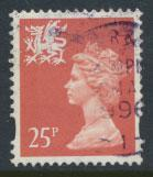 Great Britain Wales  SG W73 SC# WMMH60 Used  25p Machin see scan