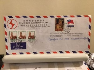 Taiwan to germany large commercial  multi stamps  airmail cover Ref R25690