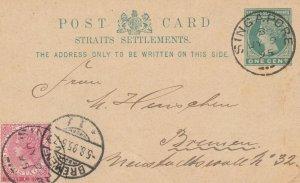 STRAITS SETTLEMENTS SINGAPORE Postcard UPRATED 1c+2c to GERMANY M2667