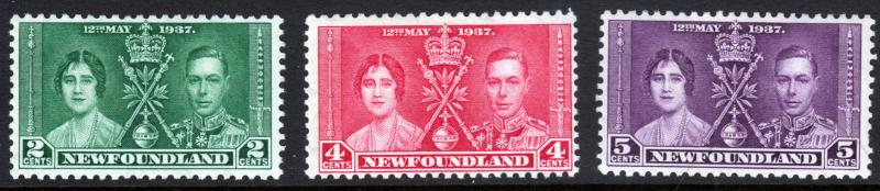 Newfoundland GVI 1937 Coronation Set SG254-SG256 Mint Lightly Hinged MLH